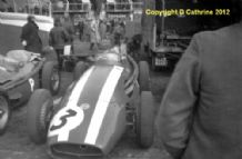 "MASERATI 250F Masten Gregory in Silverstone paddock 1958 .Amateur 10x7""photo"